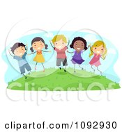 Clipart Happy Kids Jumping Outside Royalty Free Vector Illustration