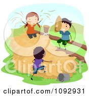 Clipart Happy Kids Playing In A Hay Stack On A Farm Royalty Free Vector Illustration