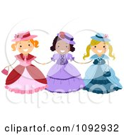 Clipart Three Girls Wearing Victorian Dresses Royalty Free Vector Illustration