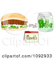 Clipart Burger And Jar For Hamburger And Pickle Month Royalty Free Vector Illustration