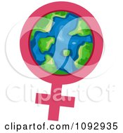 Female Gender Symbol And Earth For International Womens Month