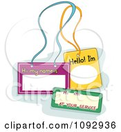 Clipart Three Blank Name Tags Royalty Free Vector Illustration