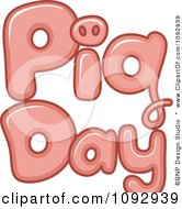 Clipart Pink Pig Day Text Royalty Free Vector Illustration