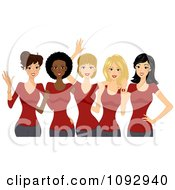 Clipart Beautiful Diverse Ladies Wearing Red T Shirts Royalty Free Vector Illustration