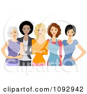 Clipart Diverse Young And Old Women Posing Together Royalty Free Vector Illustration by BNP Design Studio #COLLC1092942-0148