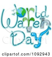 Clipart World Water Day Text With Earth And A Faucet Royalty Free Vector Illustration