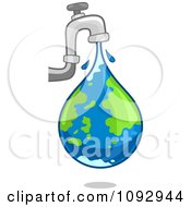 Clipart Faucet Leaking An Earth Water Droplet Royalty Free Vector Illustration