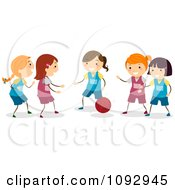 Clipart Happy Girls Playing Basketball Royalty Free Vector Illustration