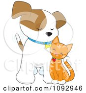 Cute Ginger Cat Rubbing Against A Puppy