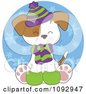 Clipart Cute Winter Pupy Wearing Warm Accessories Over A Snow Circle Royalty Free Vector Illustration