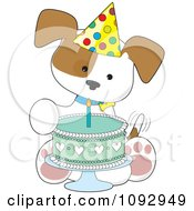 Clipart Cute Birthday Puppy With A Party Hat And Cake Royalty Free Vector Illustration