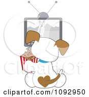 Cute Puppy Eating Doggy Biscuits And Watching A Dog Tv Show