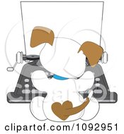 Cute Puppy Seen From Behind Using A Typewriter