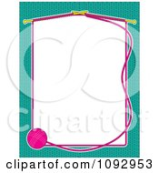Clipart Ball Of Yarn And Knitting Needles Forming A Frame Of White Copyspace Over A Turquoise Background Royalty Free Vector Illustration