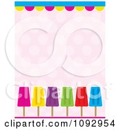 Border Of Colorful Popsicles Over Polka Dots