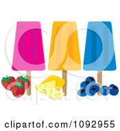 Clipart Strawberry Orange And Blueberry Ice Pops Royalty Free Vector Illustration by Maria Bell