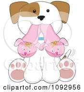 Clipart Cute Puppy Sitting With Bunny Slippers In His Mouth Royalty Free Vector Illustration