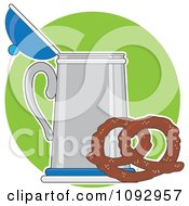 Clipart Soft Pretzel And Beer Stein Over A Green Circle Royalty Free Vector Illustration