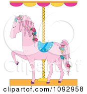 Clipart Pink Carousel Horse With Flowers Royalty Free Vector Illustration by Maria Bell
