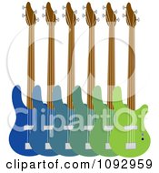 Line Up Of Blue And Green Base Guitars