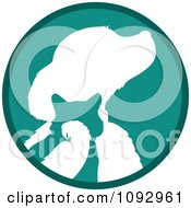 Clipart Turquoise And White Silhouetted Parrot Cat And Dog Logo Royalty Free Vector Illustration