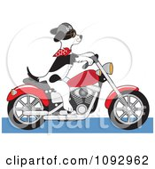 Clipart Biker Dog Riding A Motorcycle Royalty Free Vector Illustration