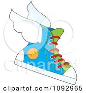 Clipart Flying Sneaker With A Lightning Bolt Icon Royalty Free Vector Illustration