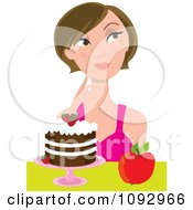 Woman Trying To Decide On Eating An Apple Or Cake