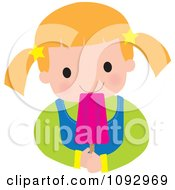 Clipart Girl Eating A Pink Popsicle Royalty Free Vector Illustration by Maria Bell