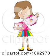 Clipart Little Girl Serving Tea And Cookies Royalty Free Vector Illustration