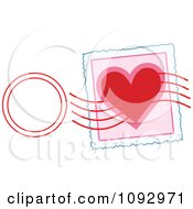 Clipart Valentine Heart Stamp And Post Mark Royalty Free Vector Illustration