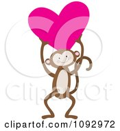 Clipart Cute Monkey Holding A Heart Royalty Free Vector Illustration