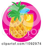 Clipart Tropical Cocktail And Pineapple Royalty Free Vector Illustration