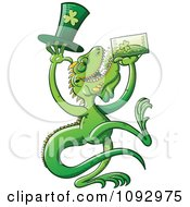 Clipart St Patricks Day Iguana Drinking Green Beer Royalty Free Vector Illustration