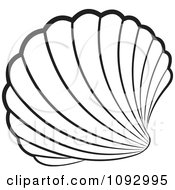 Clipart Black And White Scallop Sea Shell Royalty Free Vector Illustration by Lal Perera #COLLC1092995-0106
