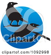 Clipart Silhouetted Crows Over A Blue Circle Royalty Free Vector Illustration
