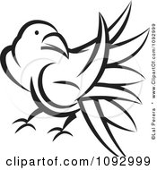 Clipart Black And White Raven Royalty Free Vector Illustration