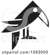 Clipart Black And White Raven Facing Right Royalty Free Vector Illustration