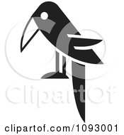 Clipart Black And White Raven Facing Left Royalty Free Vector Illustration