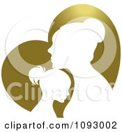 Clipart Silhouetted Mother And Daughter Over A Gold Heart Royalty Free Vector Illustration