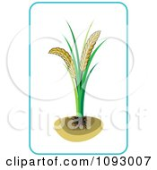 Clipart Wheat Plant And Blue Frame Royalty Free Vector Illustration by Lal Perera