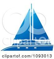 Clipart Blue Yacht Sailboat Royalty Free Vector Illustration by Lal Perera
