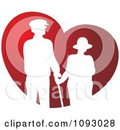 White Silhouetted Senior Couple Over A Red Heart