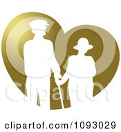 White Silhouetted Senior Couple Over A Gold Heart