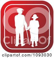Clipart White Silhouetted Senior Couple Over A Red Square Royalty Free Vector Illustration