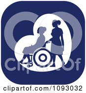 Clipart Silhouetted Nurse Helping An Elderly Woman In A Wheelchair Over A Blue Square Royalty Free Vector Illustration