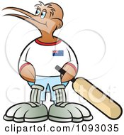 Clipart Cricket Kiwi Bird Holding A Bat And Looking Left Royalty Free Vector Illustration by Lal Perera