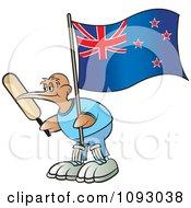 Cricket Kiwi Bird Holding A Bat And New Zealand Flag