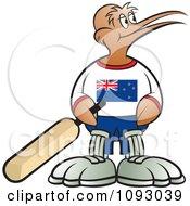 Cricket Kiwi Bird Holding A Bat And Looking Right