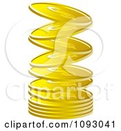 Clipart Gold Dollar Coins Falling Into A Stack Royalty Free Vector Illustration